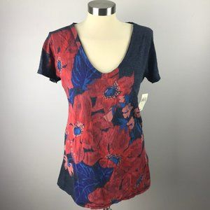 Lucky Brand Womens Large NWT Cap Sleeve Floral